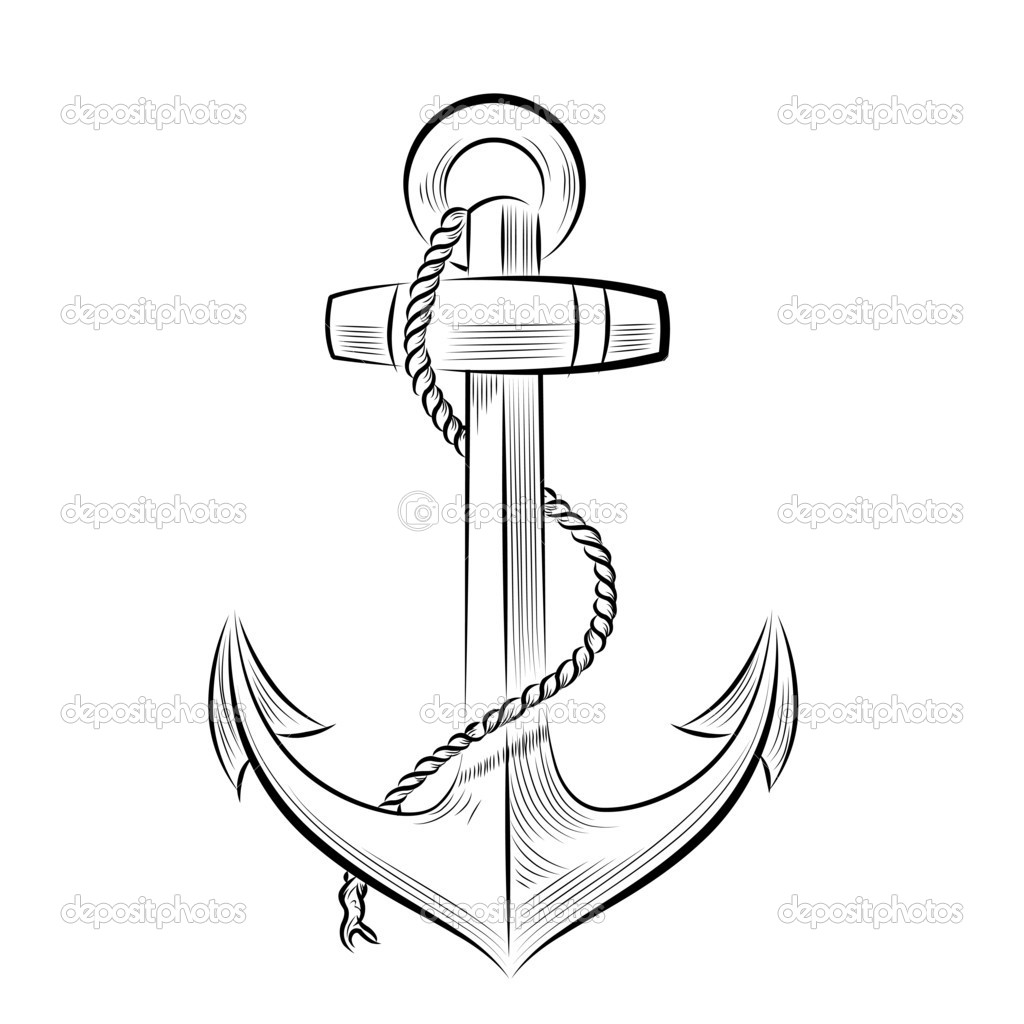 Anchor Tattoo Line Drawing : Zeichnung einfarbigen anker stockvektor � mirumur