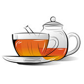 Drawing Teapot and cup of tea on a white background — Stock Vector