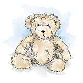 Drawing Teddy Bear. Color vector illustration — Stock Vector