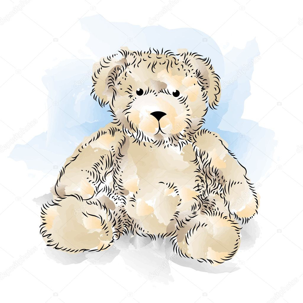 Drawing Teddy Bear. Color vector illustration — Stock Vector ...