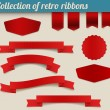 Collection of red vector retro ribbons and tags — Stock Vector