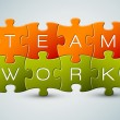 Vector puzzle teamwork illustration — Vector de stock