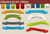 Collection of colorful vector retro ribbons — Stock Vector