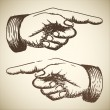 Vector retro Vintage pointing hand - Imagens vectoriais em stock