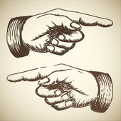Vektor retro vintage hand zeigen — Stockvektor
