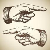 Vintage rétro de vecteur pointant main — Vecteur