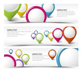 Set of map locator horizontal banners — 图库矢量图片