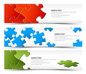 Set of puzzle horizontal banners — Vettoriale Stock