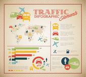 Ensemble grand vecteur d'éléments infographiques de trafic — Vecteur