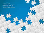 Vector blue background made from white puzzle pieces — Stock Vector