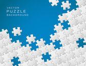 白のパズルのピースから作られた青い背景をベクトルします。 — ストックベクタ