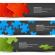 Set of dark puzzle horizontal banners - ベクター素材ストック