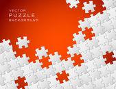 Vector fondo rojo hecho de piezas de un rompecabezas blanco — Vector de stock