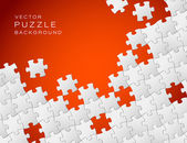 Vector red background made from white puzzle pieces — Stockvector