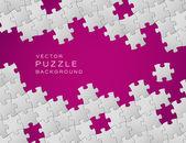 白のパズルのピースから作られた紫のベクトルの背景 — ストックベクタ