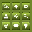 Set of green vector web square buttons — Stockvektor
