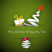 простой векторный красный рождественская открытка с подарком, дерево и безделушка — Cтоковый вектор