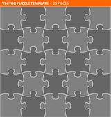 Volledige vector puzzel, decoupeerzaag sjabloon — Stockvector
