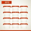 Royalty-Free Stock Vector Image: Vector Red Vintage retro calendar for the new year 2012