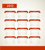 Vector Red Vintage retro calendar for the new year 2012 — Stock Vector