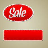 Vector Red sale stitched label — Stock Vector