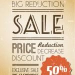 Vector grunge retro sale background — Stock Vector