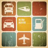Vector vintage transport (traffic) poster — Stock vektor
