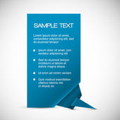Vector Blue card with origami corner — Vettoriale Stock