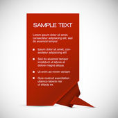 Carte de vecteur rouge avec coin origami — Vecteur