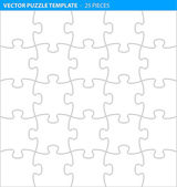 Complete puzzle, jigsaw template for print (25 pieces) — Cтоковый вектор