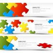 Set of puzzle horizontal banners — Vettoriale Stock #8985587