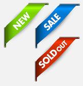 Vektör köşe yeni, bir satış için şerit ve öğeleri sattı — Stok Vektör