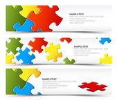 Set of puzzle horizontal banners — Stock Vector