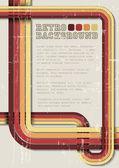 Vector fondo retro, plantilla con rayas — Vector de stock