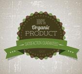 Old vector round retro vintage grunge label for organic product — ストックベクタ