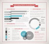 Blue Vector retro, vintage set of Infographic elements — Stock Vector