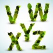 Vector alphabet letters made from leafs — Stock Vector