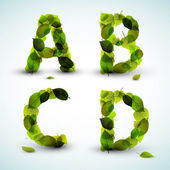 вектор буквы алфавита сделанные из листьев — Cтоковый вектор