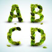 Vektör alfabesi harfleri yapılan yapraklar — Stok Vektör