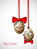 Lustige Ostereier - happy-Easter-card — Stockvektor
