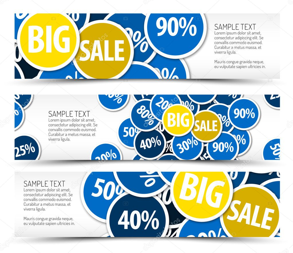 Set of big sale horizontal banners - with place for your text  Stock Vector #9340054