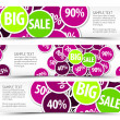 Set of big sale horizontal banners — Stock Vector