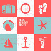 Vector summer poster made from icons — Stock vektor