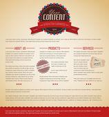 Retro vintage web page template — Stock Vector