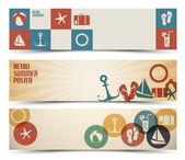 Set van retro zomer horizontale banners — Stockvector