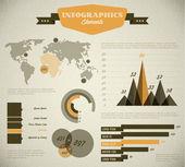 Yellow Vector retro, vintage set of Infographic elements — Stock Vector