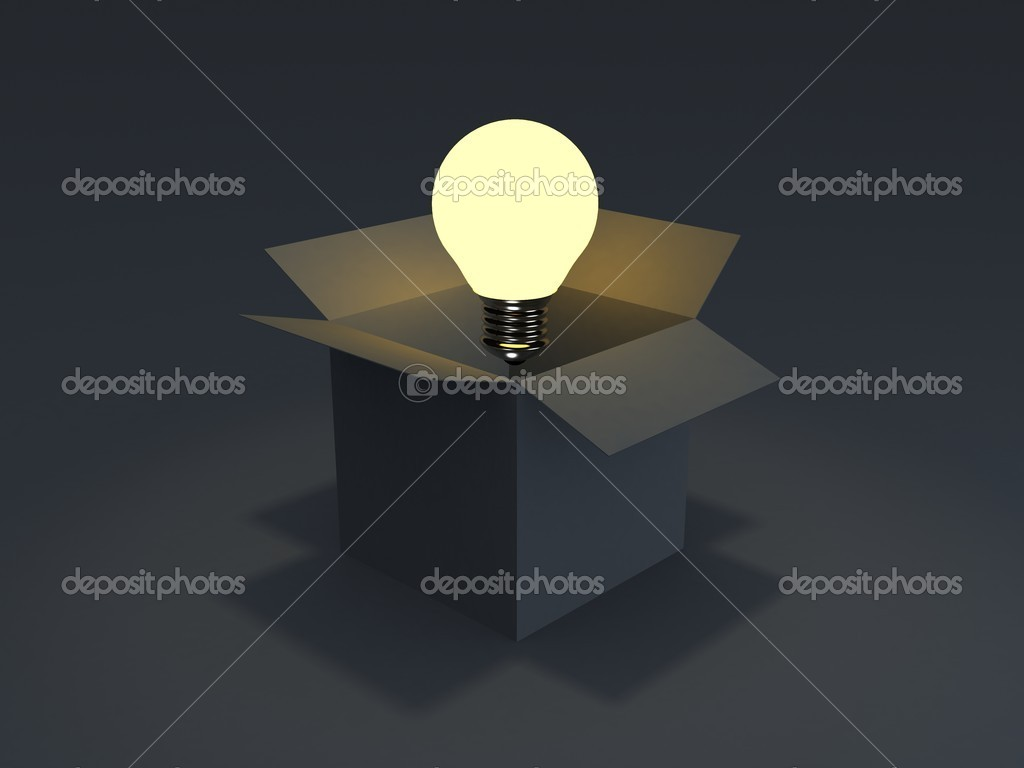 Glowing light bulb float over opened cardboard box — Stock Photo #10035835