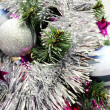 Foto Stock: Christmas tree with decorations and shiny balls