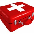 Stock Photo: First aid red medical kit box