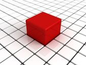 Different unique big red cube in white others — Stock Photo